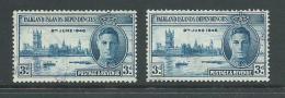 Falkland Islands Dependencies 1946 Peace Victory 3d Blue 2 Copies FU - Falkland Islands