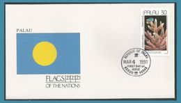 Palau 1990 365 FDC Coraux Drapeau Flag Oblitération Koror 1991 - Palau