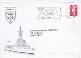 85650 - Courrier Du PORTE HELICOPTERES JEANNE D ARC  31 12 1996 Avec Carte De Voeux Du Capitaine Du Vaisseau TB - Militaria