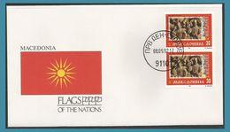 Macédoine 1992 1 Paire FDC Sculptures Bas-relief Drapeau Flag Souveraineté De La Macédoine Oblitération Skopje - Macédoine