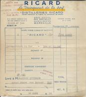 Facture Distilleries RICARD à Marseille Depot De Pau Le 26 Mars 1956 - Francia