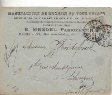 ENVELOPPE  PUBLICITAIRE MANUFACTURE PENDULES CANDELABRES  ETS MENDEL 60 RUE SAINT SABIN  PARIS - Marcophilie (Lettres)