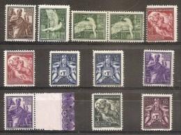 1938 Vaticano Vatican AEREA SOGGETTI VARI  25c, 50c (x3), 75c (x2), 80c (x2), 1L (x2), 5L, 10L MNH** Air Mail - Airmail