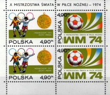 Fußball-WM BRD 1974 Polen Block 59 ** 10€ Emblem Spiel-Szene Bloque Hb Football Bloc Soccer Sheet Sport Bf Polska/POLAND - Unused Stamps