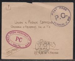Malte, Lettre De 1915 En Franchise D'un Prisonnier De Guerre Pour Paris - Malta