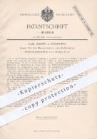Original Patent - C. Hemmer , Neidenfels 1890 , Lager Für Die Messerwalze Von Holländern , Walze , Papier , Papierfabrik - Historische Dokumente
