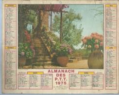 ALMANACH DES POSTES  1975 ( CALENDRIER ) JARDIN FLEURI SUR LA MEDITERRANEE / COLIOURE - Grand Format : 1971-80