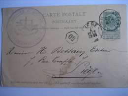 Entier Postal Armoiries ATTERT 1900 Vers LIEGE - Superbe Cachet Privé INSTITUT J. N. MOLITOR SCHADECK-ATTERT - Stamped Stationery