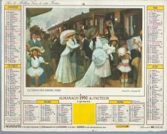 ALMANACH DES POSTES  1991 ( CALENDRIER ) LE TRAIN DES MARIS / LA MALLE POSTE XIXème S. ( Déssin: ? ) - Calendriers