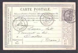 15 C Type Sage  N°  66  ( N/B ) Sur Carte De 1876 - Cote 45 € - Marcophilie (Lettres)