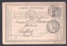 15 C Type Sage  N°  66  ( N/B ) Sur Carte De 1876 - Cote 45 € - 1849-1876: Période Classique