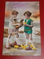 """ENFANTS  -  FANTAISIES -     Enfants , Poussins Et Oeufs De Pâques  - """"Joyeuses Pâques """" - Portraits"""