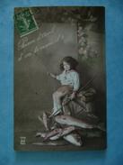 CP FETES - POISSON D'  AVRIL D'OU TE VIENT-IL?- ECRITE EN 1912 - April Fool's Day