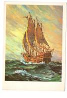 Q2179 CARTOLINA Con VELIERO _ Navi Ship Bateaux _ QUADRO DIPINTO CON LA BOCCA DA YOUNG - PITTURA E QUADRI - Altri