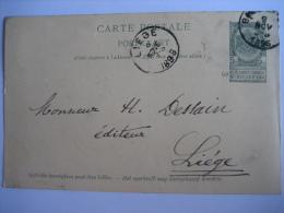 Entier Postal Armoiries BLEHARIES 1896 Vers LIEGE - Signé Abbé DEMARET Curé à HOWARDRIES - Entiers Postaux