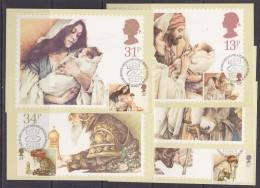 Great Britain 1984  Christmas 5v 5 Maxicards  (30423) - Maximumkaarten