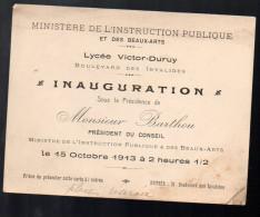 Carton D'invitation à L'inauguration (de Quoi?)  Au Lycée Victor Duruy 1913 (PPP3313) - Biglietti D'ingresso