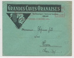 1937 - ALGERIE - ENVELOPPE DECOREE (VINS ORANAIS) De ORAN Avec EMA - Algérie (1924-1962)