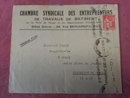 Enveloppe Publicitaire CHAMBRE SYNDICALE DES ENTREPRENEURS DE TRAVAUX DE BATIMENT TOURS 39 Rue BERNARD PALISSY - Postmark Collection (Covers)