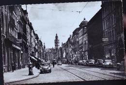Pollet CPSM 45 - Lille - La Rue Nationale. Au Fond La Bourse 2 Chevaux Voiture - Lille