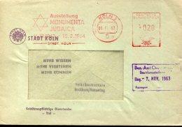 10152 Germany,  Red Meter Freistempel, EMA  Judaica, Jude, Exhibition 1964 Koln, Circuled Cover - Jewish