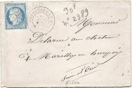 Nièvre - Montceaux Le Comte - GC + CàD Type 17. Indice 10 - Postmark Collection (Covers)