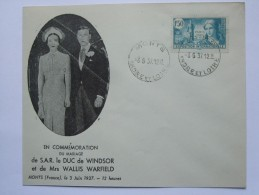 FRANCE 1937 WEDDING OF EDWARD VIII TO WALLIS SIMPSON ILLUSTRATED COER WITH MONTS INDRE ET LOIRE POSTMARK - Francia
