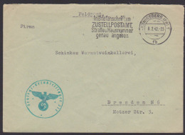 """Feldpost Königsberg (Pr) 1942 MWSt. """"In Briefanschrifte ZUSTELLPOSTAMT, Straße U. Hausnummer Angeben"""" Wermutweinkellerei - Alemania"""