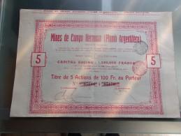 MINES DE CAMPO HERMOSO (plomb Argentifere) 1907 - Hist. Wertpapiere - Nonvaleurs
