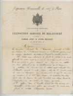 LaS De Simon Lévy & Léon Becker. Promotion Du Cataloque Officiel De L'Exposition Agricole De Billancourt. 1867. Juda - Autographes