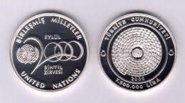AC - UN SUMMIT OF MILLENIUM COMMEMORATIVE SILVER COIN TURKEY 2000 PROOF UNCIRCULATED - Turchia