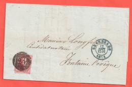 N° 5 / Lettre De BXL 17 Aout 1851 Vers Fontaine L Eveque - 1849-1850 Médaillons (3/5)