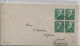 Pro Juventute 1937 J81 Viererblock General Dufour - Von Lotzwil Nach Zürich - Pro Juventute