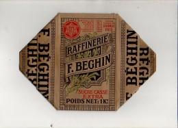 """Publicité - Rare ! Emballage En Carton Complet De Sucre Morceaux Raffiné Extra 1 KG """"F. Beghin"""" Thumeries Voir Exemple ! - Werbung"""