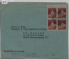 Pro Juventute 1927 J41 Viererblock Auf Briefstück Von Basel Nach St. Gallen - Pro Juventute