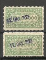 DEUTSCHLAND 1923 Einkommensteuer, 10 Mio Gezähnt + Durchgestochen O - Germany