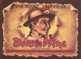 ANCIENNE ETIQUETTE DE VIN ROUGE. CARMAUX. 81. TARN.  BONNE MINE. PHOTO DE MINEUR AVEC SA LAMPE FRONTALE - Vieux Papiers