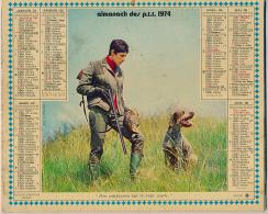 Almanach Des PTT (1974) Chasse, Carte Ferroviaire, Métro, Les Yvelines, Versailles, Carte Routière France... (17 Scans) - Calendriers
