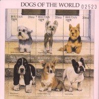 E)1997 BHUTAN, DOGS OF THE WORLD, CANES, ANIMAL, SOUVENIR SHEET OF 6, MNH - Bhutan