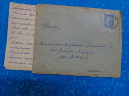 Enveloppe Entiere Timbree 1905 Obliteration Pointille Marsac Creuse Et Yvoir- - Belgique