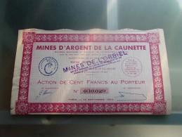 MINES D´ARGENT DE LA CAUNETTE (mines De L´orbiel) Action 100 Francs - Zonder Classificatie