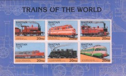 E)1996 BHUTAN, TRAINS OF THE WORLD, RAILWAYS, LOCOMOTIVES,  INDIA, FINLAND, RUSSIA, UNITED STATES, JAPAN,ITALY, SOUVENIR - Bhutan