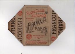 """Publicité - Rare ! Emballage En Carton Complet De Sucre Cassé 1 KG """"François """" Paris / Voir Exemple ! - Werbung"""