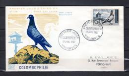 """FRANCE 1957 : Enveloppe 1er Jour """" COLOMBOPHILIE """" N° YT 1091. Voir Les Scans Recto/Verso. FDC - Piccioni & Colombe"""