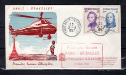 """FRANCE 1957 : Env. Commémorative """" 1ère LIAISON HELICOPTERE  S.A.B.E.N.A. """" N°YT 1085 86. Voir Scans Recto/Verso. FDC - Hélicoptères"""