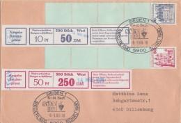 Bund Brief Mif Minr.913 Rollenanfang Mit Banderole, 916 Rollenanfang Mit Banderole SST Siegen - Rollenmarken