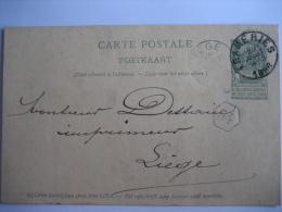 Entier Postal Armoiries FRAMERIES 1898 Vers LIEGE - Signé Victor LEENS - Postcards [1871-09]