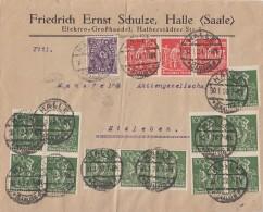 DR Brief Mif Minr.12x 187,224,3x 240 Halle 30.1.23 Mit Vignette - Allemagne