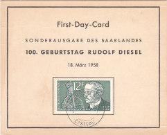 GERMANIA RUDOLF DIESEL 1958 SU CARTONCINO - Covers & Documents