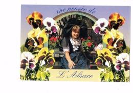 Une Pensée De L'ALSACE - Fille En Costume Alsacienne - Décor Fleurs Pensées - 1997 - - Zonder Classificatie